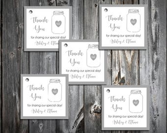 100 Mason Jar Favor Tags.  Wedding favors