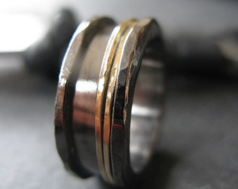 14K Gold Spinner Mens Wedding Bands Mens Ring Mens Jewelry Mens Spinner Ring Meditation Ring Viking Ring Viking Wedding Band 8mm Black Band
