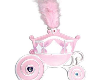 Princess Carriage Ornament  Pink Carriage Ornament  Pink Feather   Personalized Christmas Ornament