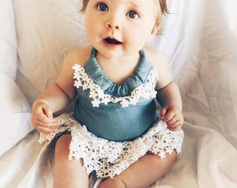 Halter Tutu Romper - Chambray with  Lace skirt