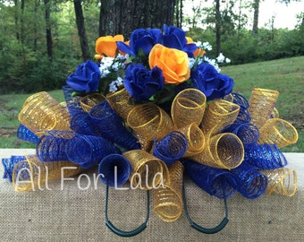Blue and Gold Headstone Saddle with Roses for Men