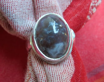 High Dome Lavender Agate in Heavy Sterling Ring Size 9 & a Half