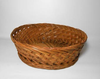 Vintage Bread Basket, Large Basket, Wicker Basket, Craft Basket, Craft Supplies, Storage