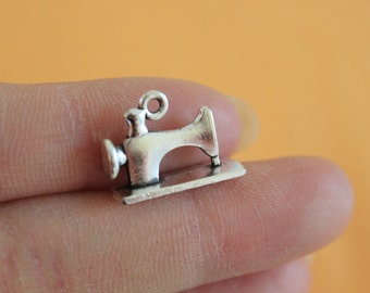 3D Sewing Machine Charms, Antique Tibetan silver Sewing Machine Charm Pendants jewelry making 6*14*19mm
