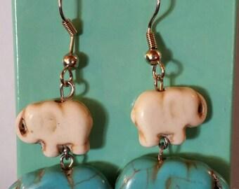 Free shipping. Double dangle elephant earrings
