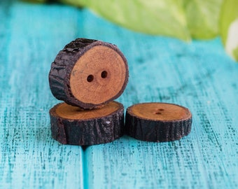 Wooden buttons_natural wood_2 cm_set of 8_handmade wooden fasteners_tree branch slices_two holes_eco-friendly woodland buttons_oil finished