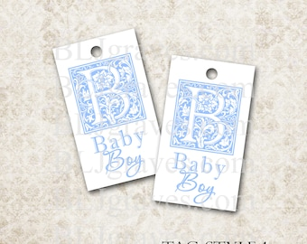 Tags Baby Shower Boy Gift Tags Favor Tags Wish Tree Monogram Treat Bag Tag TB005