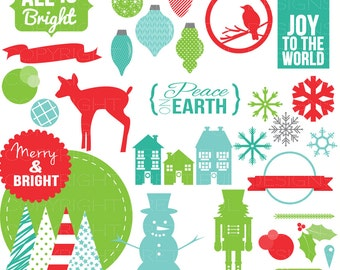 Trendy Essential Christmas Card Clip Art  Word Art Christmas Tree Nutcracker Snowman Deer Ornaments - Jolly