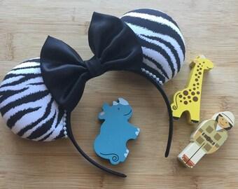 Zebra Print Mouse Ears, Animal Print Mouse Ears, Animal Kingdom Inspired Ears, Animal Kingdom Mouse Ears, Zebra Ears