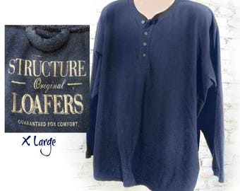 long sleeve t shirt - minimal navy blue t shirt - men's Navy pullover shirt , boyfriend shirt , Navy crew neck shirt- X large shirt, # 12