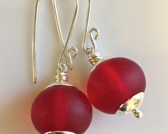 Red Sea Glass Earrings   Beach Glass   Matte Glass Earrings  Sterling Silver Earrings