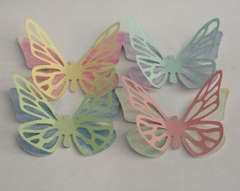 Watercolor butterflies, different measures availble, 20 handpainted watercolor paper butterfly , die cut shape butterflies,with wings.