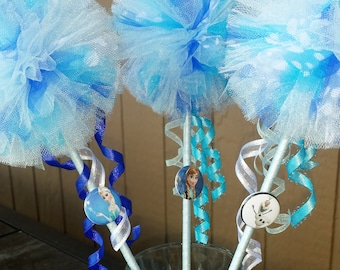 12 Frozen wands with Frozen character embellishment