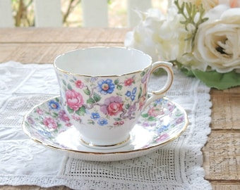 Royal Victoria Chintz Bone China Footed Tea Cup and Saucer Set, Springtime, Cottage Style, French Country, Elegant Tea Party