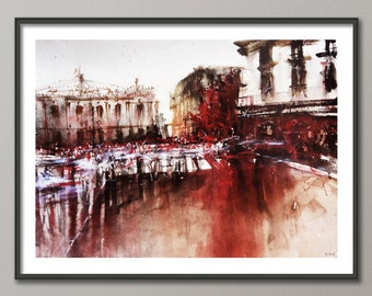 Paris Painting, Watercolor street, Poster France, Giclee print , Modern wall art, Colorful painting.