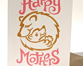 Mothers day bear hugs linocut card