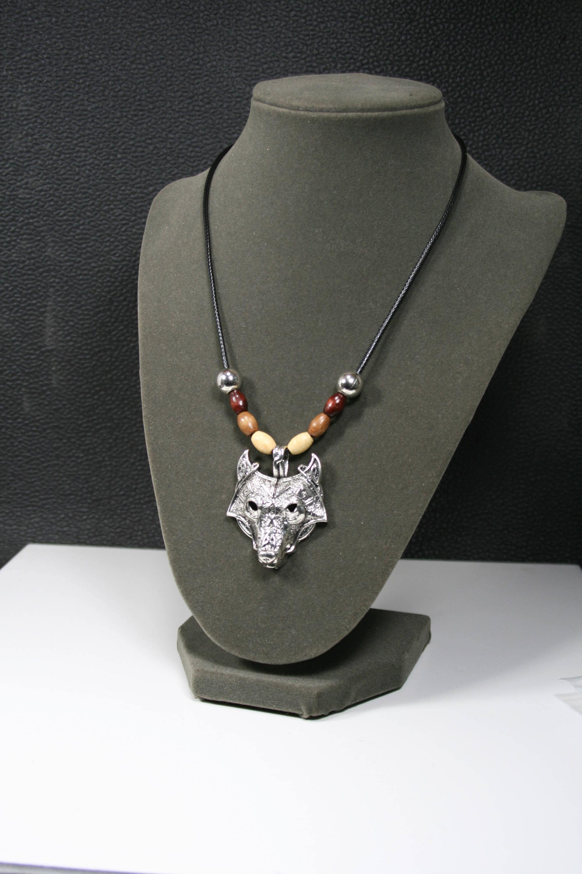 fox jewelry art necklace wolf silver head pendant