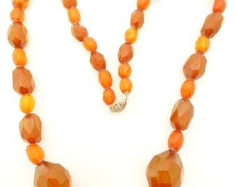Genuine Baltic Honey Amber and Apple Juice Bakelite Graduated Bead Necklace