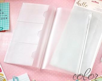 Traveler Notebook Insert Clear Planner Refill • Zipper, Card & Large Pocket for Traveler Planner (P1033)