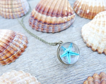 Navy necklace, gift for woman, mermaid necklace, ocean necklace, inspirational, starfish necklace, boho necklace, glass orb necklace