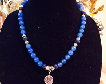 Stylish,elegant beaded necklace,gemstones,handmade,silver finish pendant,short necklace.