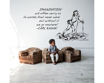 Science Art - Carl Sagan inspiration quote and Da Vinci walking on water sketch wall decal - for your educational decor (ID: 121064)