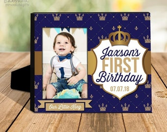birthday boy gift   our little king first birthday photo frame   gold crown picture frame   any age photo frame MFBD-002