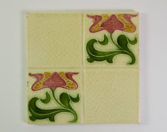Antique 1900s Corn Bros Art Nouveau tulip pottery tile
