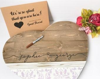 Wooden Heart Wedding Guest Book - Alternative Wedding Guest Book - Rustic Wedding Guest Book - Wood Heart - Guest Book Ideas