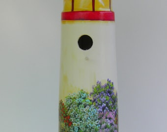 Unique Red and White Lighthouse Birdhouse , Handcrafted , Hand Painted , Eco - Friendly