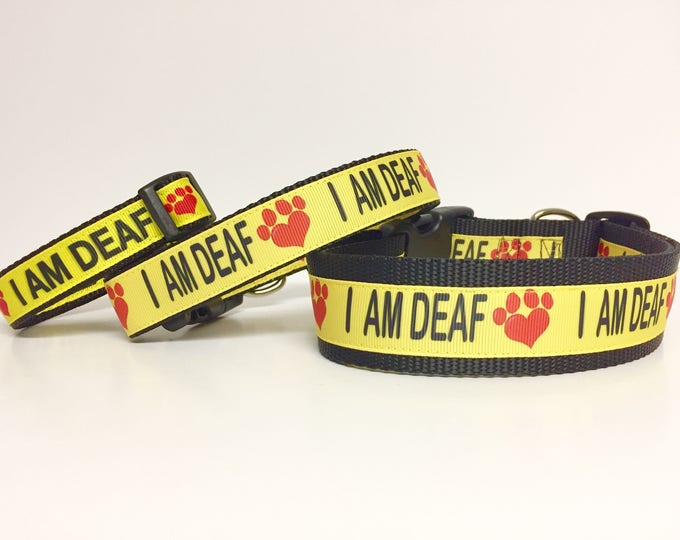 "Featured listing image: I AM DEAF Dog Collar or Leash 1"" or 3/4"" width - Special Needs - Dog - Deaf - Awareness - Caution - Bright - Impaired - Yellow - Safety"