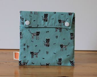 Reusable sandwich bag, reusable snack bag, fabric bag with Skeleton cats print [#131], eco friendly, no waste lunch, washable, ProCare