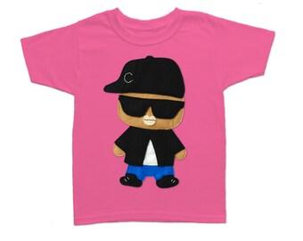 Hip Hop Kids Shirt - Rad Rapper - Big Sunglasses - Boy or Girls Raspberry Kids T-Shirt - Birthday Gift - Rap Clothing - Kids clothes