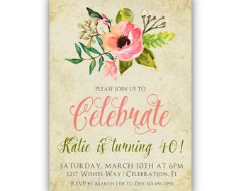 40th birthday invitation for women, Garden birthday party invite, Ladies Milestone Birthdays printable digital file or printed invitations
