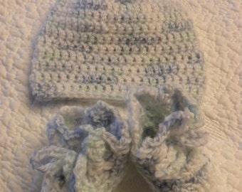 Baby Boy Layette crochet cap and booties