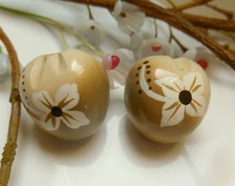 2 Brown painted vegetable beads
