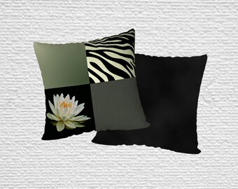 Water Lily and Zebra Stripe Throw Pillow Cover, Green and Black Patchwork Flower Animal Print and Abstract Square Tile Throw Cushion Cover
