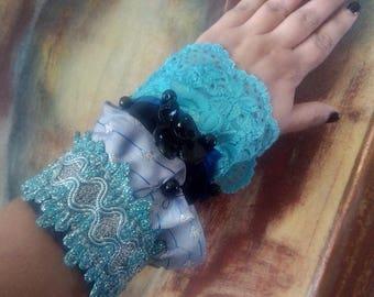 Victorian cuff bracelet Victorian lace cuff Steampunk lace wrist cuff Vintage style Blue lace cuff Statement cuff Lace jewelry