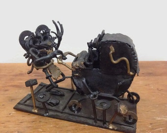 Vintage Metal Assemblage of Mouse with Baby Carriage, Creepy Macabre 1970s Retro Art