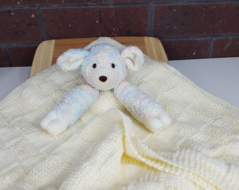 Hand Knitted Baby Lamb Companion Baby Blanket in Cream