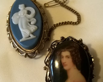 Cameo Brooch, Vintage Brooch, Pair of Brooches, Vintage Jewelry, Costume Jewelry