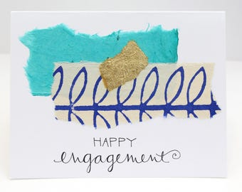 Unique, Handmade Happy Engagement Card; Turquoise, Purple, Gold, Collaged