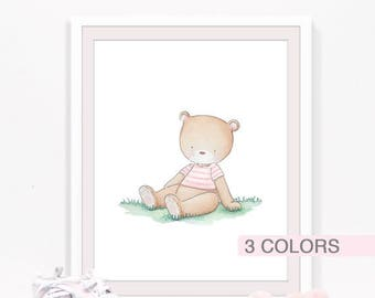 Bear nursery art print, Woodland nursery decor, Watercolor bear, Woodland animals, Kids room wall art