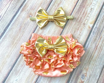 Baby girl outfit, coral and gold baby bloomer set, infant girl newborn outfit, baby shower, ruffle diaper cover, custom bloomers, gold bow