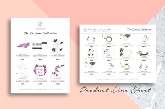 Line Sheet WORD Template Wholesale Catalog Simple & Elegant