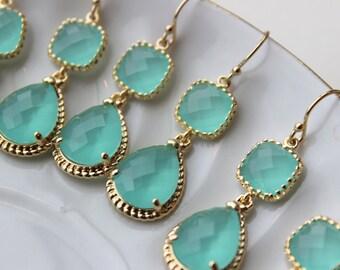 15% Off Set of 6 Wedding Jewelry Bridesmaid Earrings Bridal Bridesmaid Jewelry Mint Blue Earrings Aqua Seafoam Gold Teardrop