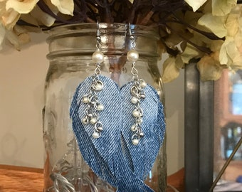Denim Angel Wing Earrings