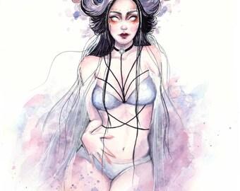 "Faun goddess character original watercolour ink painting ""Bona dea"""