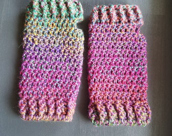 Gloves - Purple, Pink, Green- Fingerless Gloves - Crochet