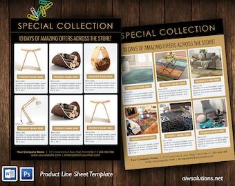 line sheet template, product look book, mini product brochure, Minimalist Wholesale Sheet, simple product sheet, online catalog template